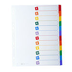Avery Intercalaires Mylar Format A4 12 touches neutre