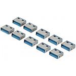 Bouchons de verrouillage pour 10 ports USB (bleu)