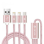 Devia Câble Premium 3-en-1 USB/Lightning Rose Or