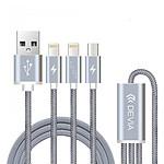 Devia Câble Premium 3-en-1 USB/Lightning Gris