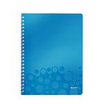 Leitz WOW Cahier Spirale 160p A4 petits carreaux Bleu