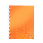 Leitz WOW Cahier Spirale 160p A4 petits carreaux Orange
