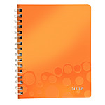 Leitz WOW Cahier Spirale 160p A5 petits carreaux Orange