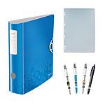 Leitz Classeur à Levier 180° Wow Bleu + Copies simple perforées + BIC 4 Couleurs Star Wars OFFERT !