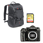 Pentax K-1 + Manfrotto Travel Backpack MB MA-TRV-GY + SanDisk Carte mémoire SDHC Extreme 32 Go