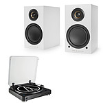 Audio-Technica AT-LP60BT Noir + Triangle Elara LN01A Blanc mat