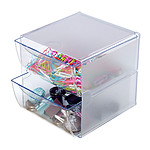 deflecto Cube 2 tiroirs Cristal (350101)