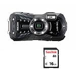 Ricoh WG-50 Noir + SanDisk pour Ricoh SDHC 16 Go