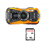 Ricoh WG-50 Orange + SanDisk pour Ricoh SDHC 16 Go