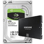 Samsung SSD 850 EVO 250 Go + HDD 4 To Seagate BarraCuda