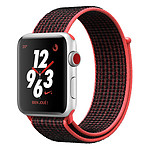 Apple Watch Nike+ Series 3 GPS + Cellular Aluminium Argent Sport Cramoisi/Noir 38 mm