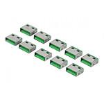 Bouchons de verrouillage pour 10 ports USB (vert)