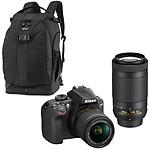Nikon D3400 + AF-P DX 18-55 VR + AF-P DX 70-300 VR Noir + Lowepro Flipside 500 AW