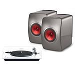 Elipson Omega 100 RIAA Blanc + KEF LS50 Wireless Gris Titane / Bordeaux