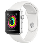 Apple Watch Series 3 GPS Aluminium Argent Sport Blanc 38 mm