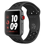 Apple Watch Nike+ Series 3 GPS + Cellular Aluminium Gris Sidéral Sport Noir 38 mm