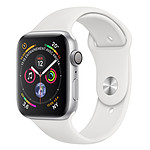 Apple Watch Series 4 GPS Aluminium Argent Sport Blanc 44 mm