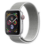 Apple Watch Series 4 GPS + Cellular Aluminium Argent Boucle Sport Coquillage 44 mm