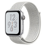 Apple Watch Nike+ Series 4 GPS Aluminium Argent Boucle Sport Blanc 40 mm