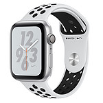 Apple Watch Nike+ Series 4 GPS Aluminium Argent Sport Platine pur/Noir 44 mm