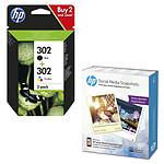 HP 302 Combo 3 couleurs / noir - X4D37AE + Papier photo W2G60A
