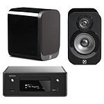 Denon CEOL N10 Noir - Sans HP + Q Acoustics 3010 Noir laqué