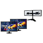 "ASUS 21.5"" LED - VP228HE (x2) + LDLC Support 2 Écrans"