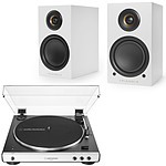 Audio-Technica AT-LP60XBT Blanco + Elara LN01A Triángulo Blanco Mate