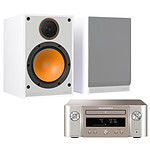 Marantz Melody X M-CR612 Argent/Or + Monitor Audio Monitor 100 Blanc