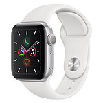 Apple Watch Series 5 GPS Aluminium Argent Bracelet Sport Blanc 40 mm