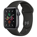 Apple Watch Series 5 GPS Aluminio Lado Gris Pulsera Deportiva Negro 40 mm