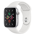 Apple Watch Series 5 GPS Aluminium Argent Bracelet Sport Blanc 44 mm