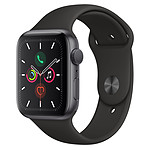 Apple Watch Series 5 GPS Aluminium Gris Sidéral Bracelet Sport Noir 44 mm