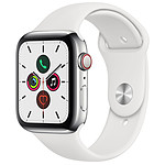 Apple Watch Series 5 GPS + Cellular Acier Bracelet Sport Blanc 44 mm