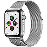 Apple Watch Series 5 GPS + Cellular Acier Bracelet Milanais Argent 44 mm