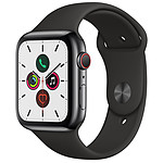 Apple Watch Series 5 GPS + Cellular Acier Noir Bracelet Sport Noir 44 mm