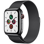 Apple Watch Series 5 GPS + Cellular Acier Noir Bracelet Milanais Noir 44 mm