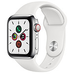 Apple Watch Series 5 GPS + Cellular Acier Argent Bracelet Sport Blanc 40 mm