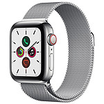 Apple Watch Series 5 GPS + Cellular Acier Argent Bracelet Milanais Argent 40 mm