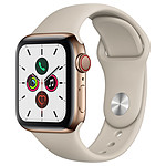 Apple Watch Series 5 GPS + Cellular Acier Or Bracelet Sport Gris Sable 40 mm