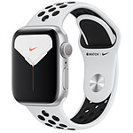 Apple Watch Series 5 Nike GPS Aluminio Plata Pulsera deportiva Puro Platino/Negro 40 mm