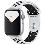 Apple Watch Series 5 Nike GPS Aluminium Argent Bracelet Sport Platine Pur/Noir 44 mm