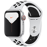 Apple Watch Series 5 Nike GPS + Cellular Aluminium Argent Bracelet Sport Platine Pur/Noir 40 mm