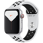 Apple Watch Series 5 Nike GPS + Cellular Aluminium Argent Bracelet Sport Platine Pur/Noir 44 mm
