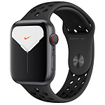 Apple Watch Series 5 Nike GPS + Cellular Aluminium Gris Sidéral Bracelet Sport Noir 44 mm