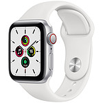 Apple Watch SE GPS + Cellular Silver Aluminium Bracelet Sport White 40 mm