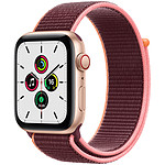 Apple Watch SE GPS + Cellular Gold Aluminium Bracelet Sport Plum 44 mm