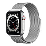Apple Watch Series 6 GPS + Cellular Stainless steel Silver Bracelet Milanese 44 mm
