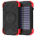 Akashi Batterie de Secours 10000 mAh Solaire Noir