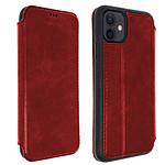 Akashi Etui Folio Cuir Italien Rouge iPhone 12 / 12 Pro